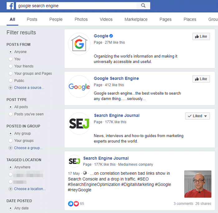 Facebook Search - A Social Media Specific Search Engine