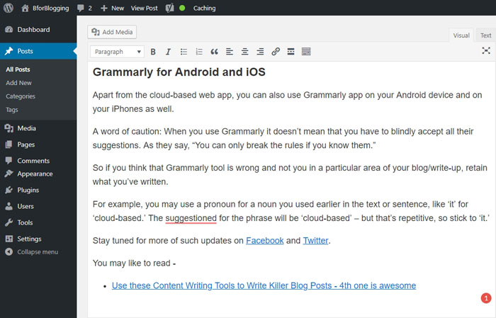 Grammarly WordPress Editor