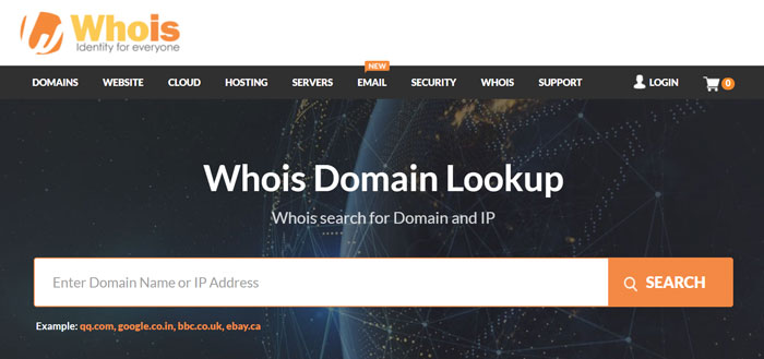 WHOIS Domain Lookup for Website WHOIS (ownership) Search