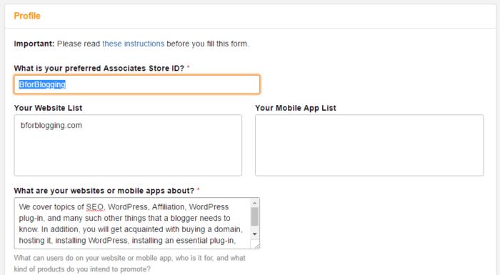 Complete Your Amazon Affiliate Program Profile