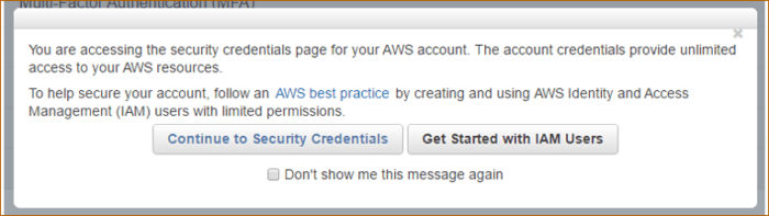 Continue to Security Credentials in Amazon Web Services Account