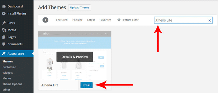 Search And Install WordPress Theme