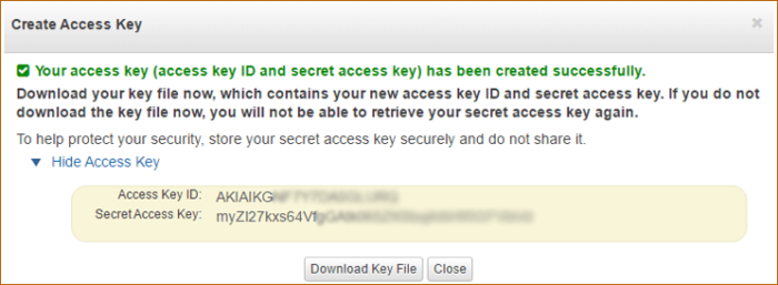 Create and download Access and Secret Access Keys from AWS