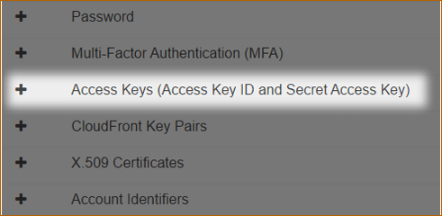 Navigate to Access Key in AWS Account
