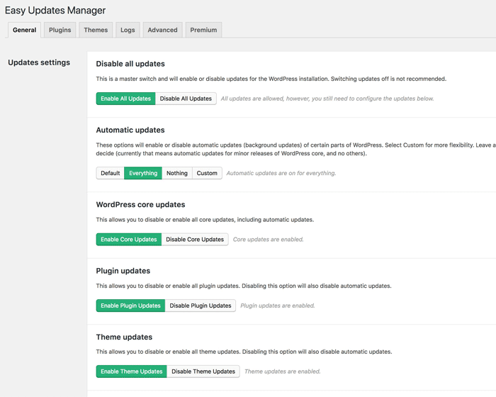 Easy Updates Manager Plugin setting page