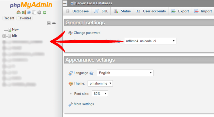 Select the WordPress Database in phpMyAdmin