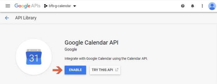 Enable the Google Calendar API