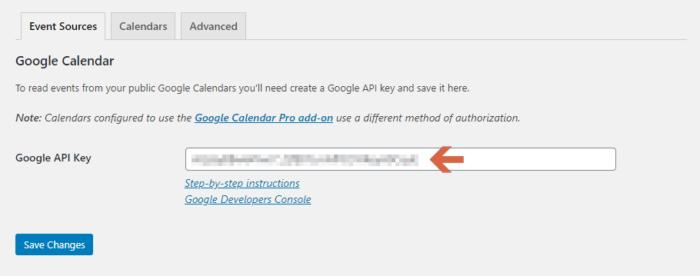 Enter the API Key into Calendar Settings