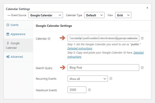 Enter the Calendar ID of Your Google Calendar