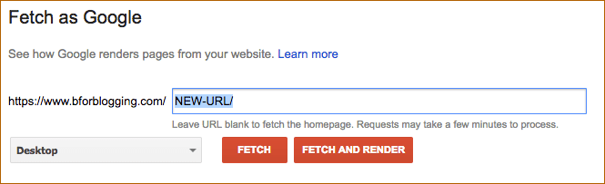 Fetch as Google Bot New WordPress URLs