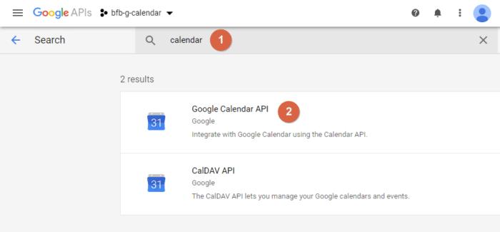 Find the Google Calendar API