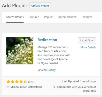 Install Redirection WordPress Plugin