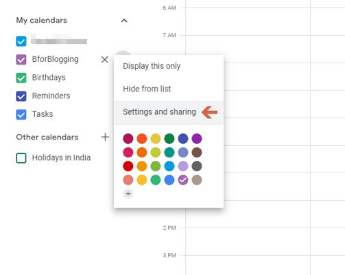 Share Your Google Calendar