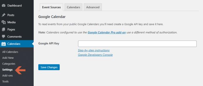 Simple Calendar - Google Calendar Plugin Settings Page