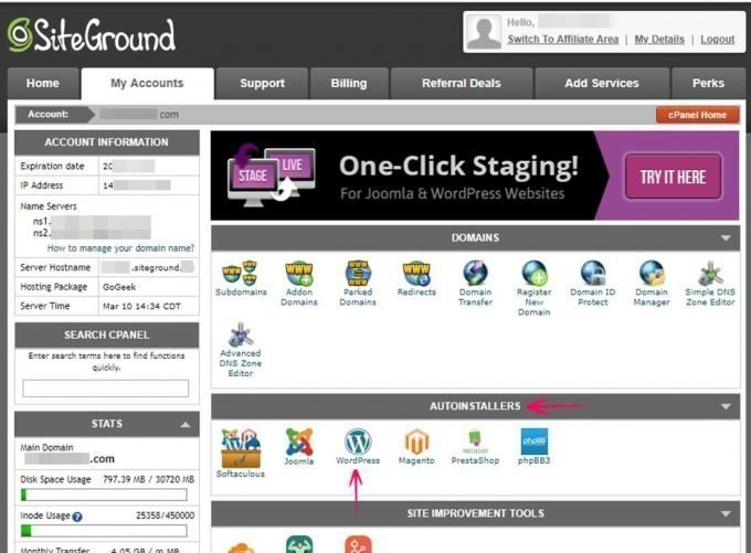 cPanel SiteGround Hosting
