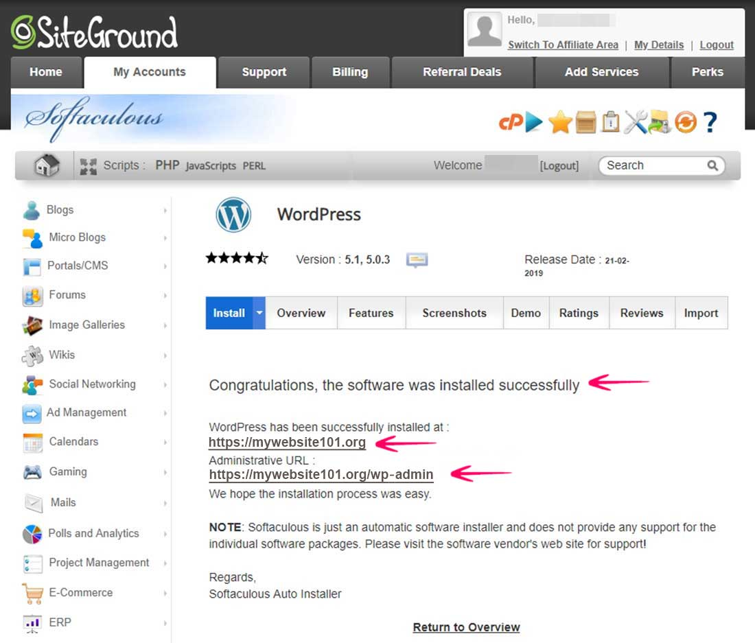 WordPress Installed Successfully at SiteGround