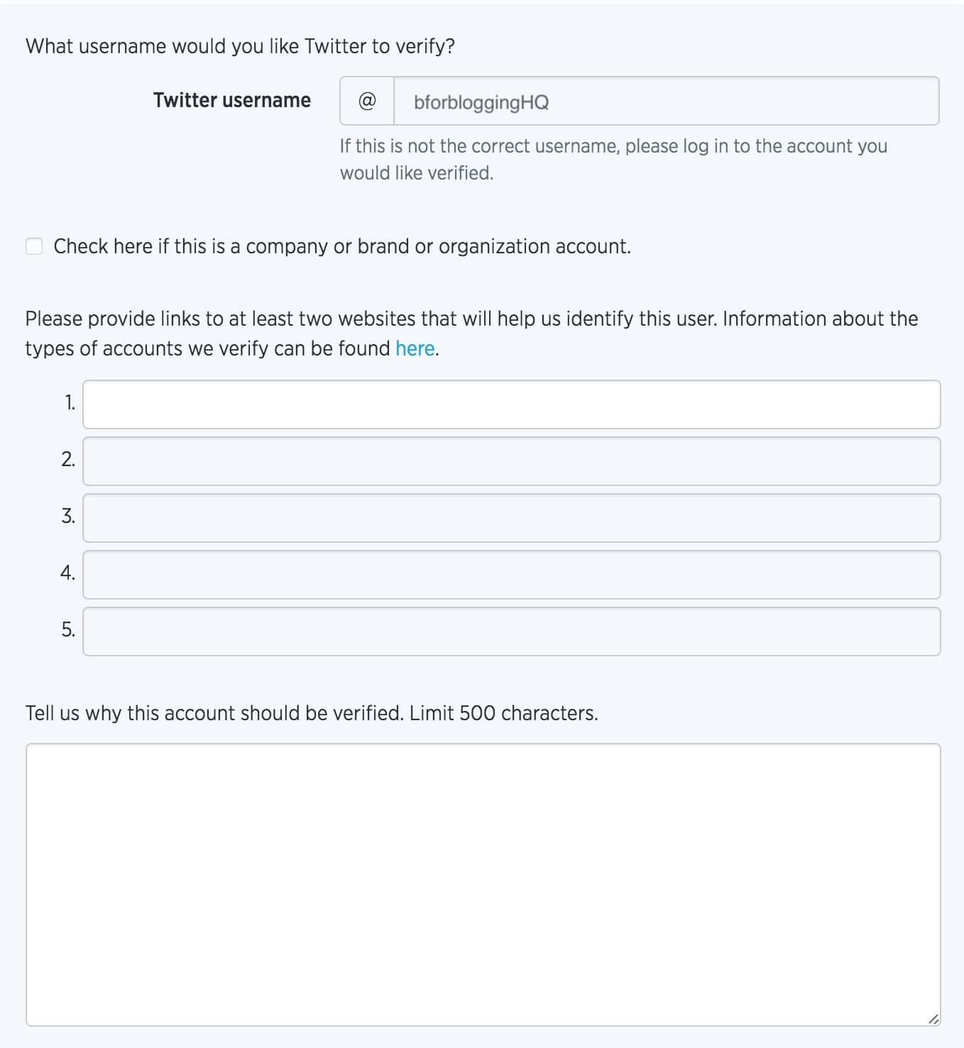 Application Form for Twitter Account Verification