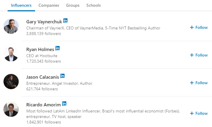 Follow the Influencers on LinkedIn