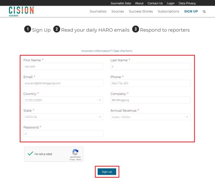 Create an Account at HARO - Helpareporter